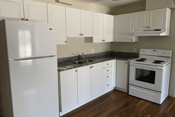 Suite kitchen with fridge, and oven