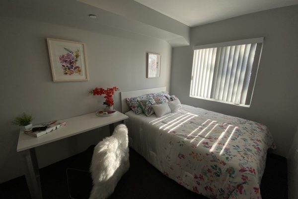 Suite bedroom with bed and desk